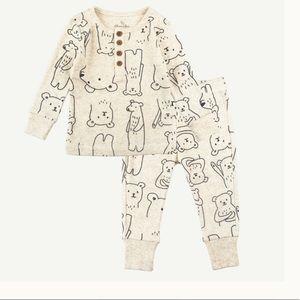 SOLD Two Piece Bear Print Organic Cotton Pajamas